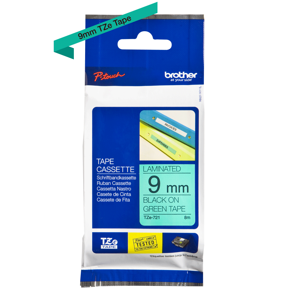 Original TZe-721 Schriftbandkassette von Brother – Schwarz auf Grün, 9mm breit 2