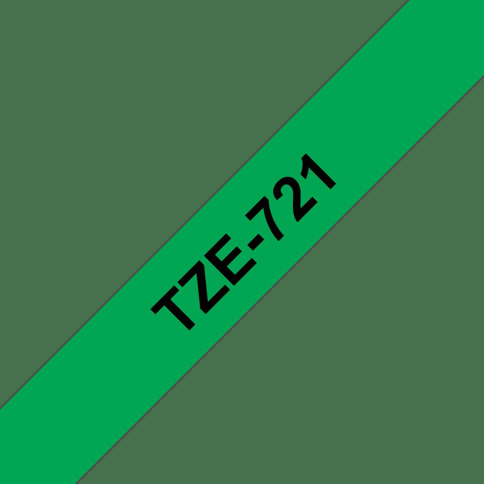 Original TZe-721 Schriftbandkassette von Brother – Schwarz auf Grün, 9mm breit 3