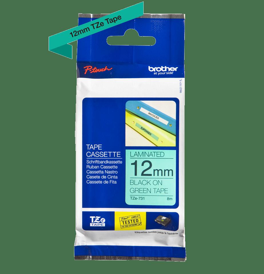 Cassette à ruban pour étiqueteuse TZe-731 Brother originale – Noir sur vert, 12mm de large 2