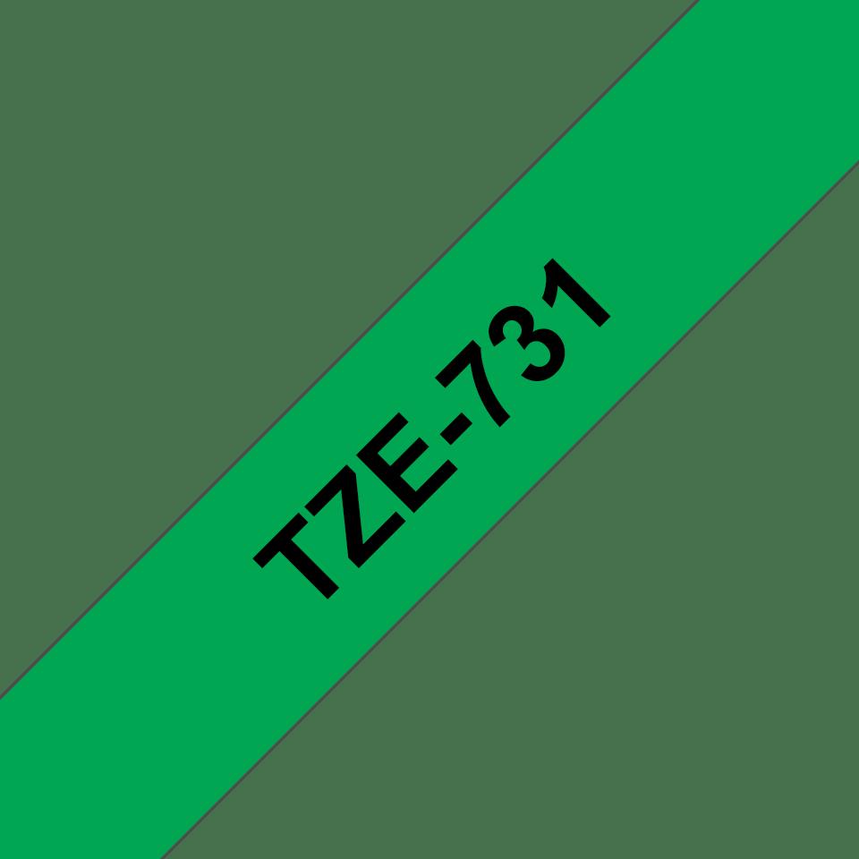 Original TZe-731 Schriftbandkassette von Brother – Schwarz auf Grün, 12mm breit 3