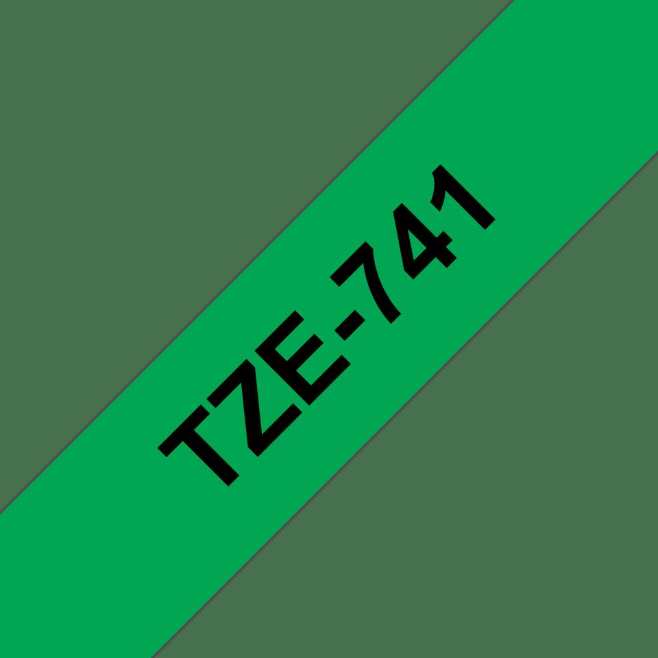 Original TZe-741 Schriftbandkassette von Brother – Schwarz auf Grün, 18mm breit 3