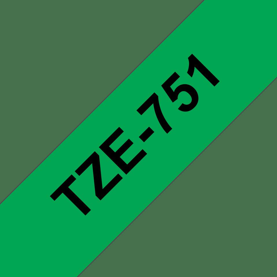 Original TZe-751 Schriftbandkassette von Brother – Schwarz auf Grün, 24mm breit 3