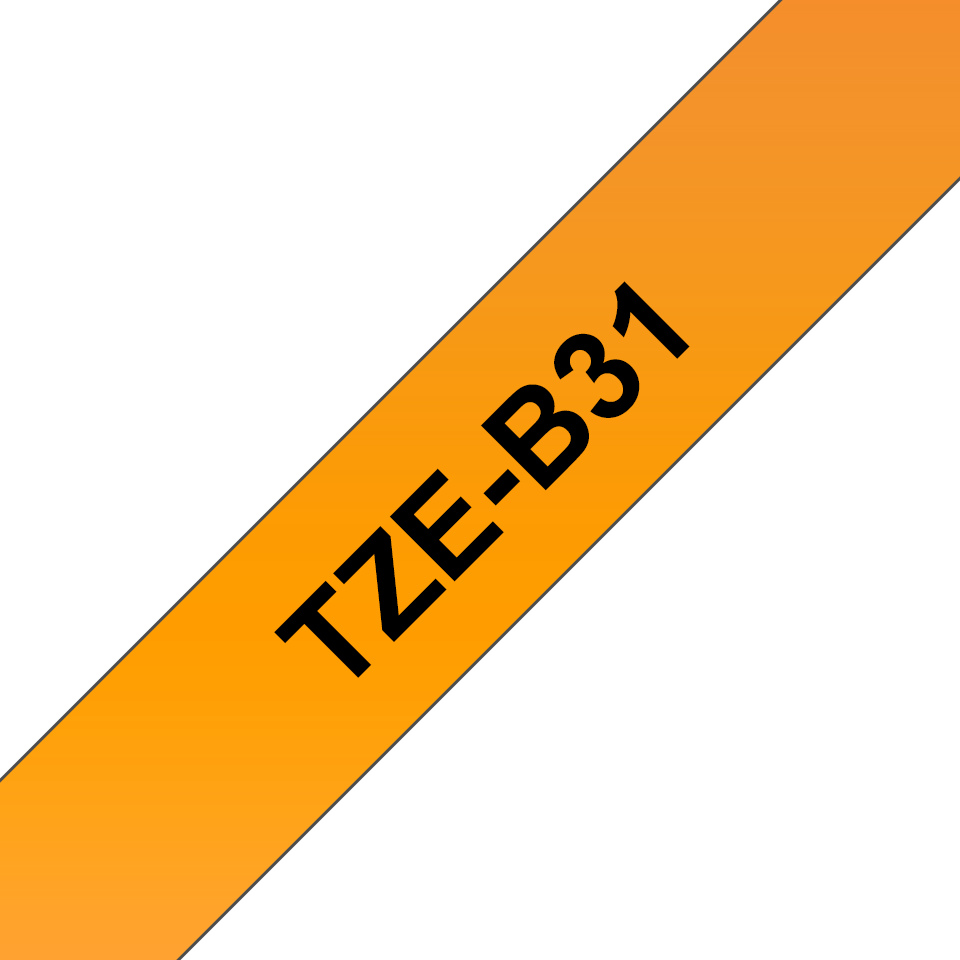 Original TZe-B31 Schriftbandkassette von Brother – Schwarz auf Signalorange, 12mm breit 3