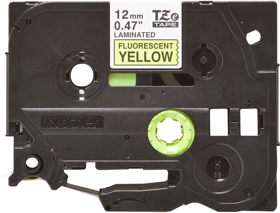 Cassette à ruban pour étiqueteuse TZe-C31 Brother originale – Jaune fluorescent, 12mm de large