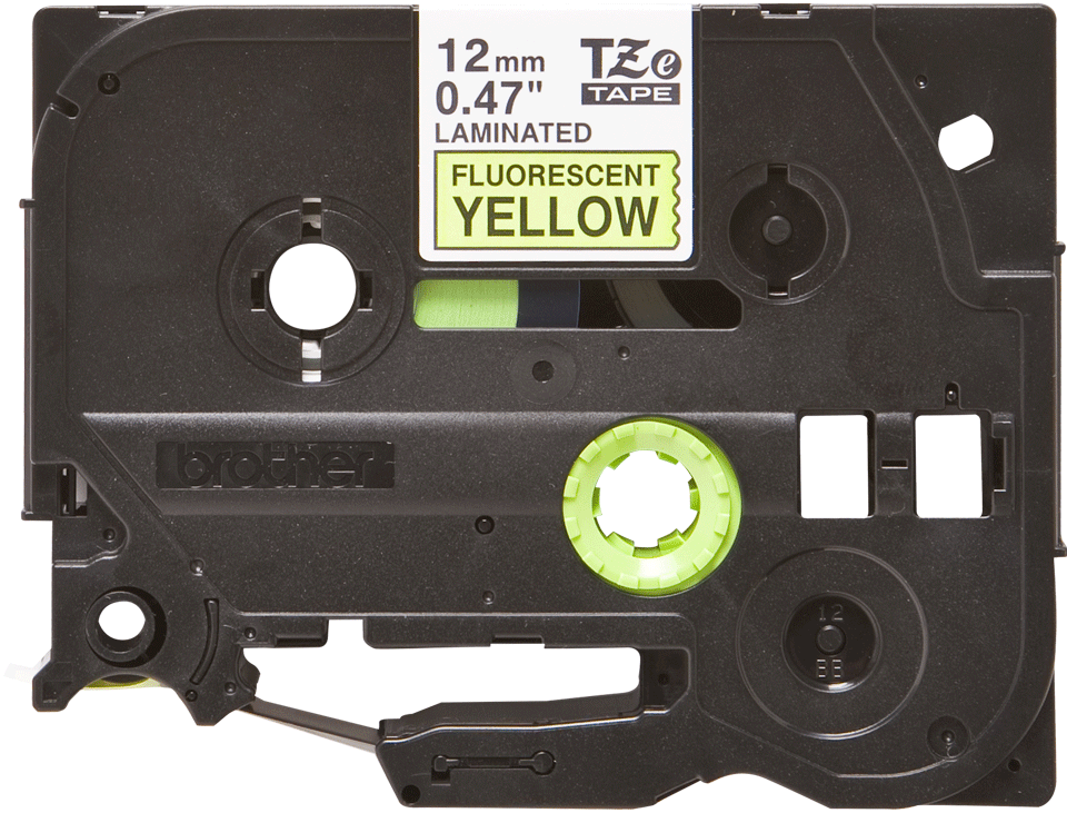 Cassette à ruban pour étiqueteuse TZe-C31 Brother originale – Jaune fluorescent, 12 mm de large