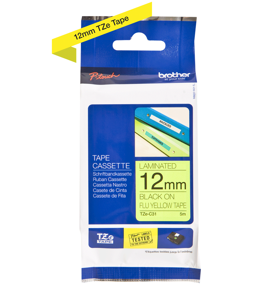 Cassette à ruban pour étiqueteuse TZe-C31 Brother originale – Jaune fluorescent, 12 mm de large 2