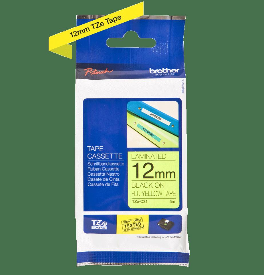 Cassette à ruban pour étiqueteuse TZe-C31 Brother originale – Jaune fluorescent, 12mm de large 2