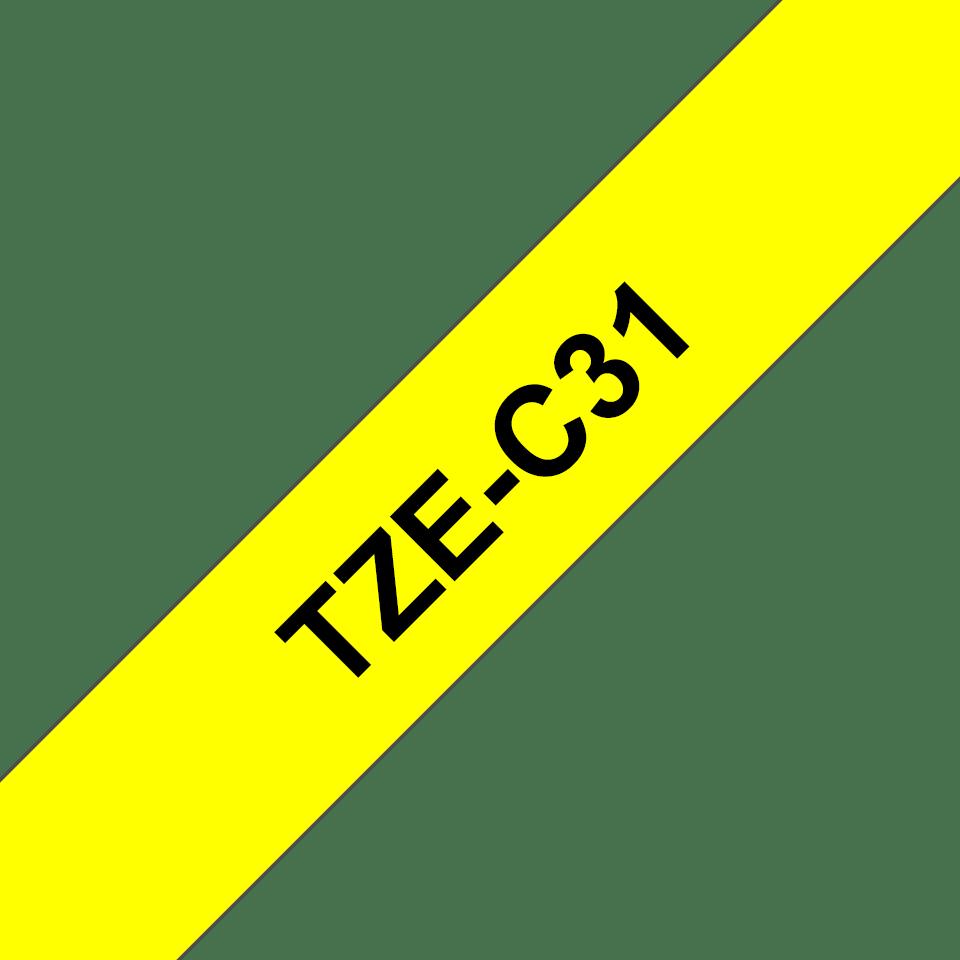 Original TZe-C31 Schriftbandkassette von Brother – Schwarz auf Signalgelb, 12mm breit 3
