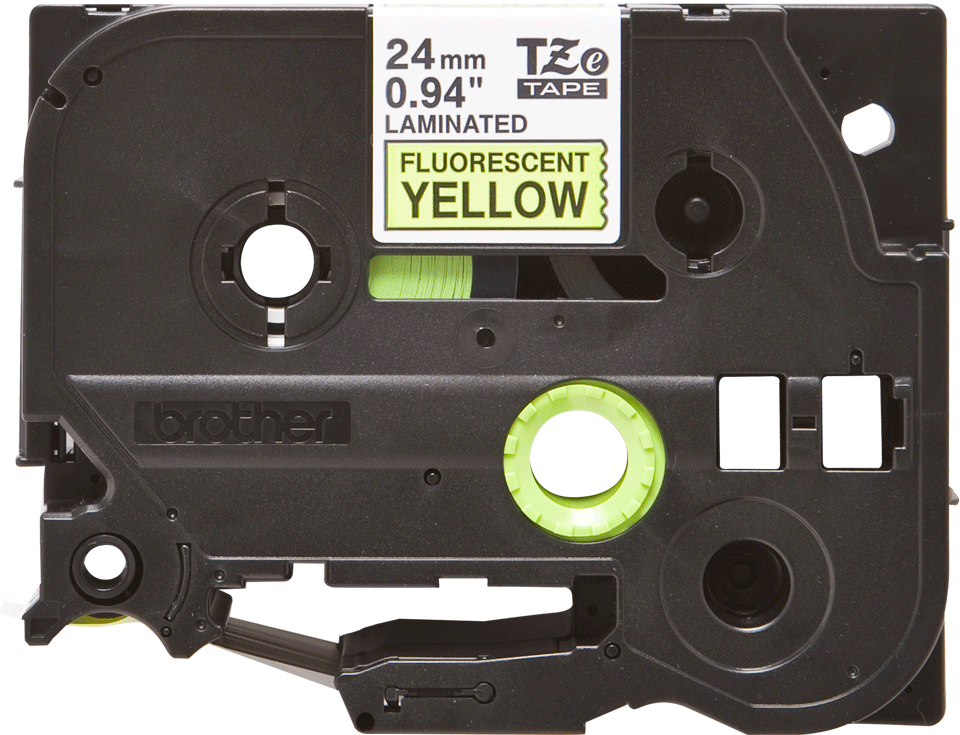 Original TZe-C51 Schriftbandkassette von Brother – Schwarz auf Signalgelb, 24mm breit