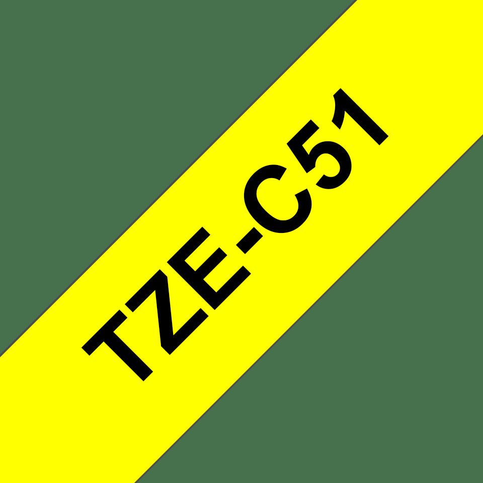 Original TZe-C51 Schriftbandkassette von Brother – Schwarz auf Signalgelb, 24mm breit 3