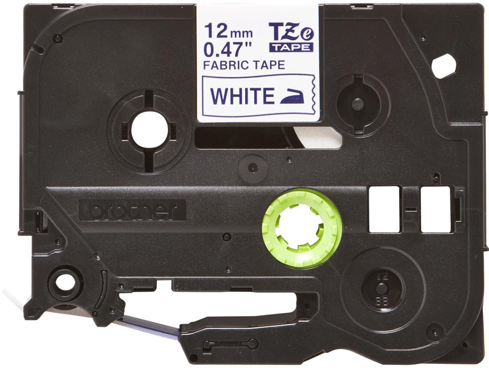 Original TZe-FA3 Textilaufbügelbandkassette von Brother – Blau auf Weiß, 12mm breit