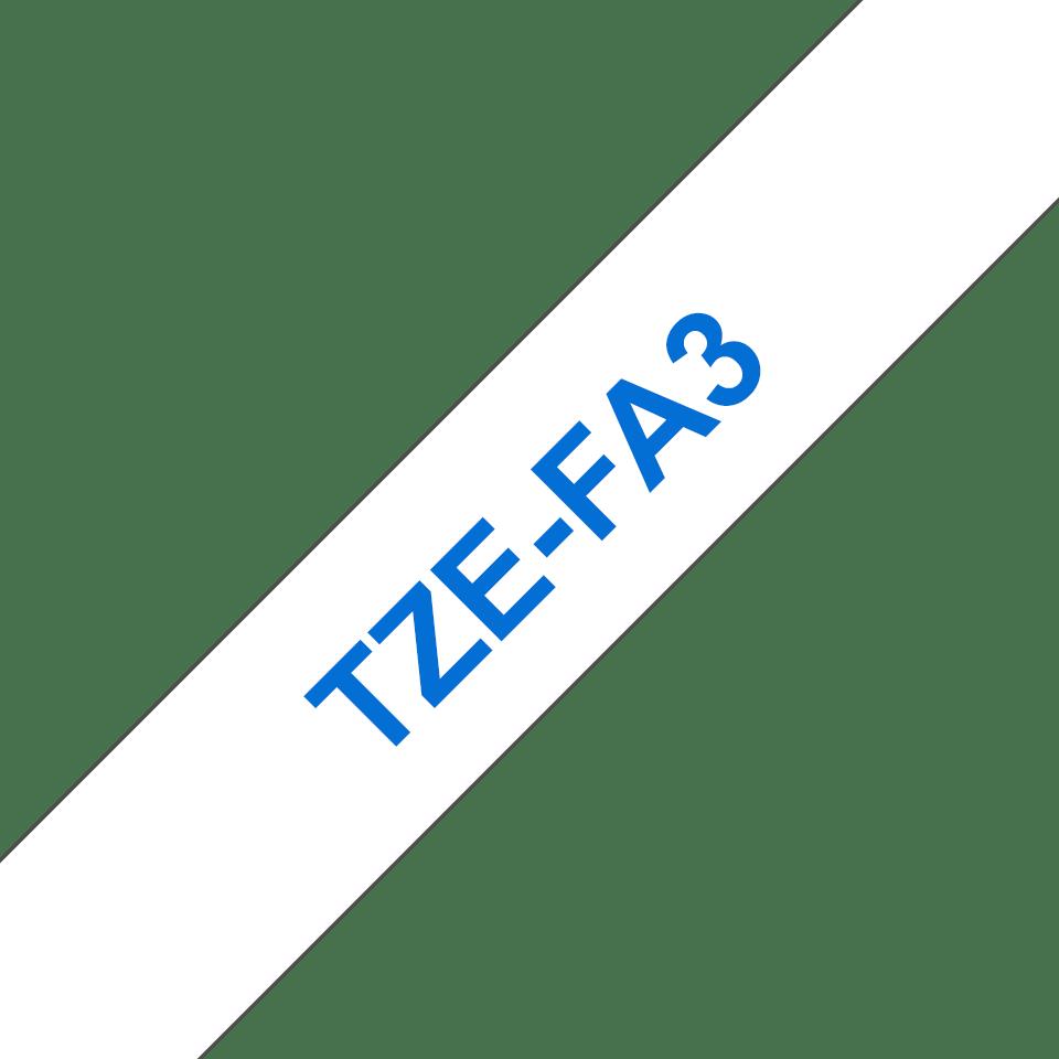 Original TZe-FA3 Textilaufbügelbandkassette von Brother – Blau auf Weiß, 12mm breit 3