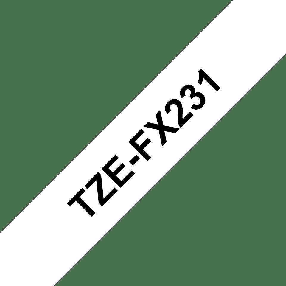 Original TZe-FX231 Flexi-Schriftbandkassette von Brother – Schwarz auf Weiß, 12mm breit 3