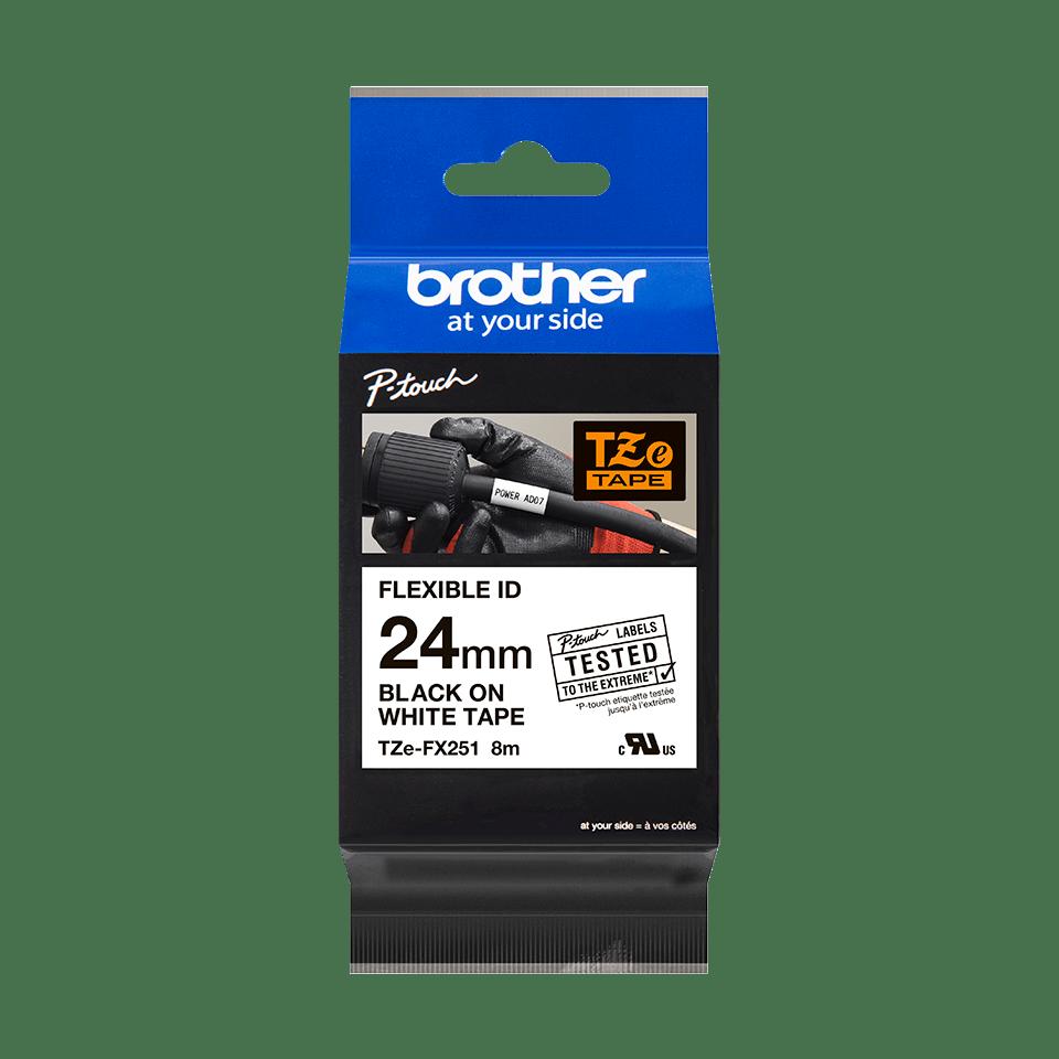 Cassette à ruban pour étiqueteuse TZe-FX251 Brother originale – Noir sur blanc, 24mm de large 2