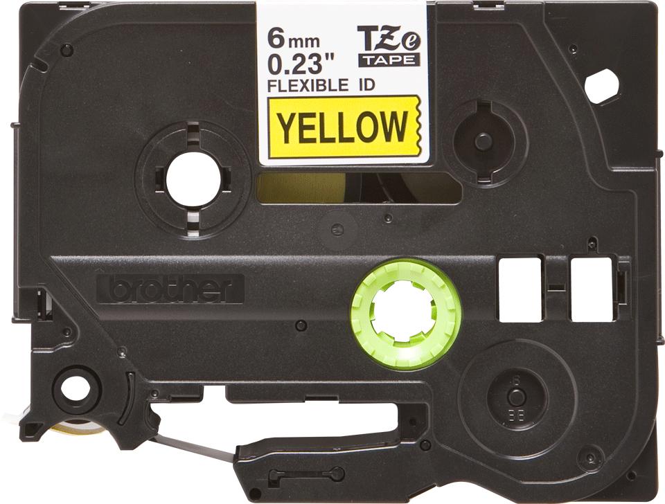 Original TZe-FX611 Flexi-Schriftbandkassette von Brother – Schwarz auf Gelb, 6mm breit