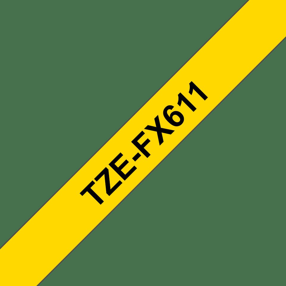Cassette à ruban pour étiqueteuse TZe-FX611 Brother originale – Noir sur jaune, 6mm de large 3