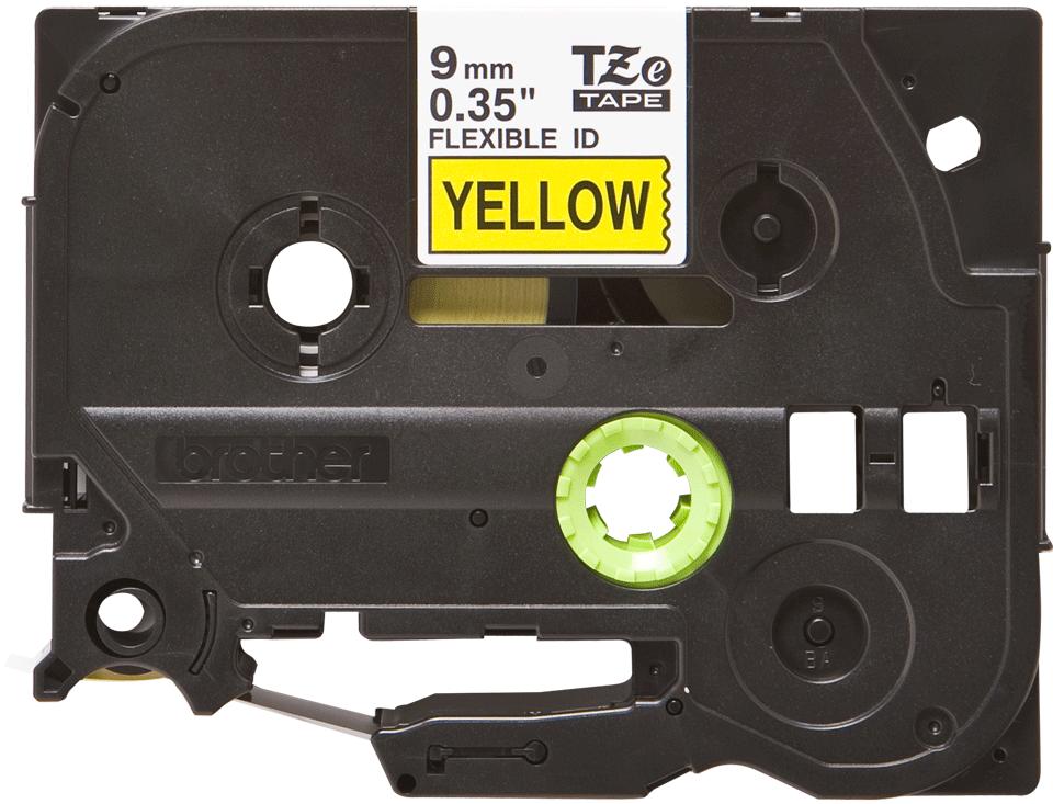 Original TZe-FX621 Flexi-Schriftbandkassette von Brother – Schwarz auf Gelb, 9mm breit