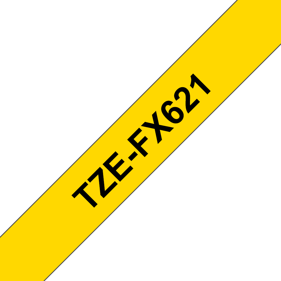 Cassette à ruban pour étiqueteuse TZe-FX621 Brother originale – Noir sur jaune, 9mm de large 3