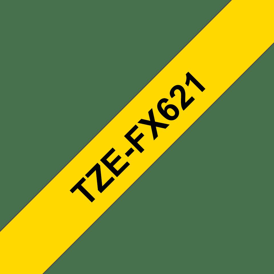 Original TZe-FX621 Flexi-Schriftbandkassette von Brother – Schwarz auf Gelb, 9mm breit 3