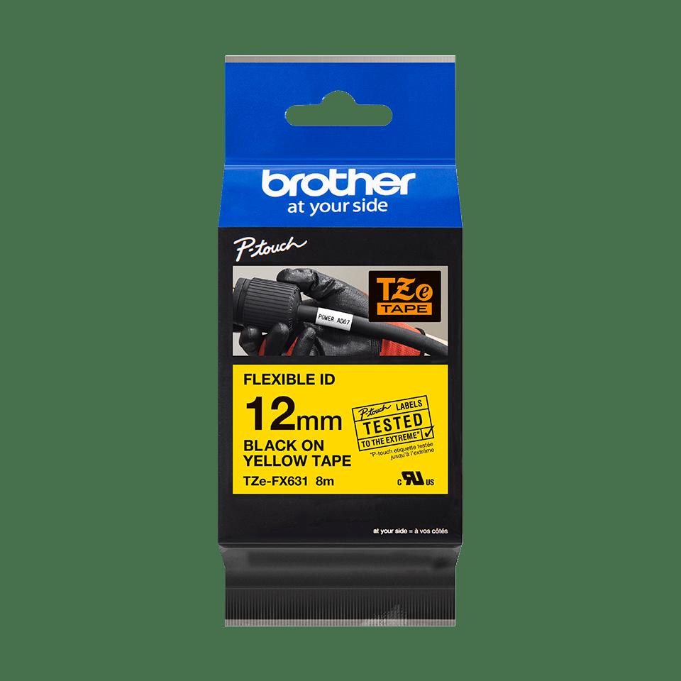Cassette à ruban pour étiqueteuse TZe-FX631 Brother originale – Noir sur jaune, 12mm de large 2