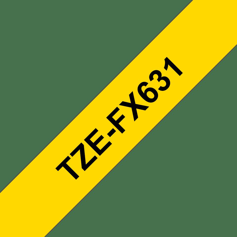 Original TZe-FX631 Flexi-Schriftbandkassette von Brother – Schwarz auf Gelb, 12mm breit 3