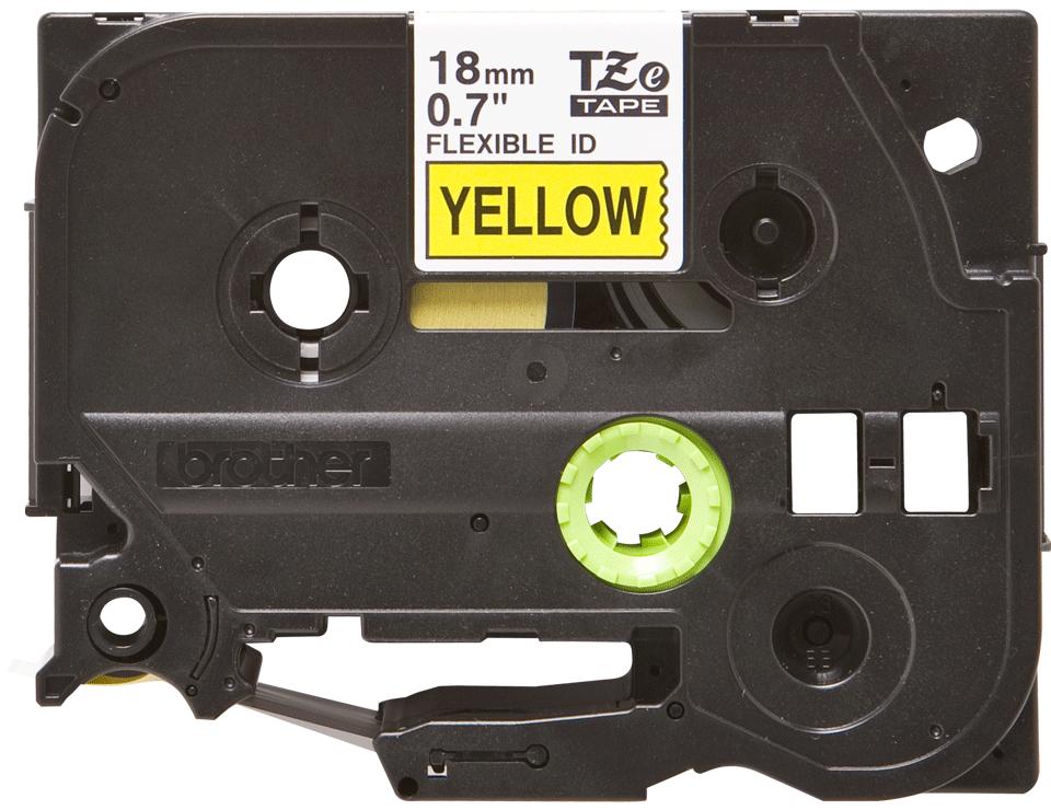 Original TZe-FX641 Flexi-Schriftbandkassette von Brother – Schwarz auf Gelb, 18mm breit