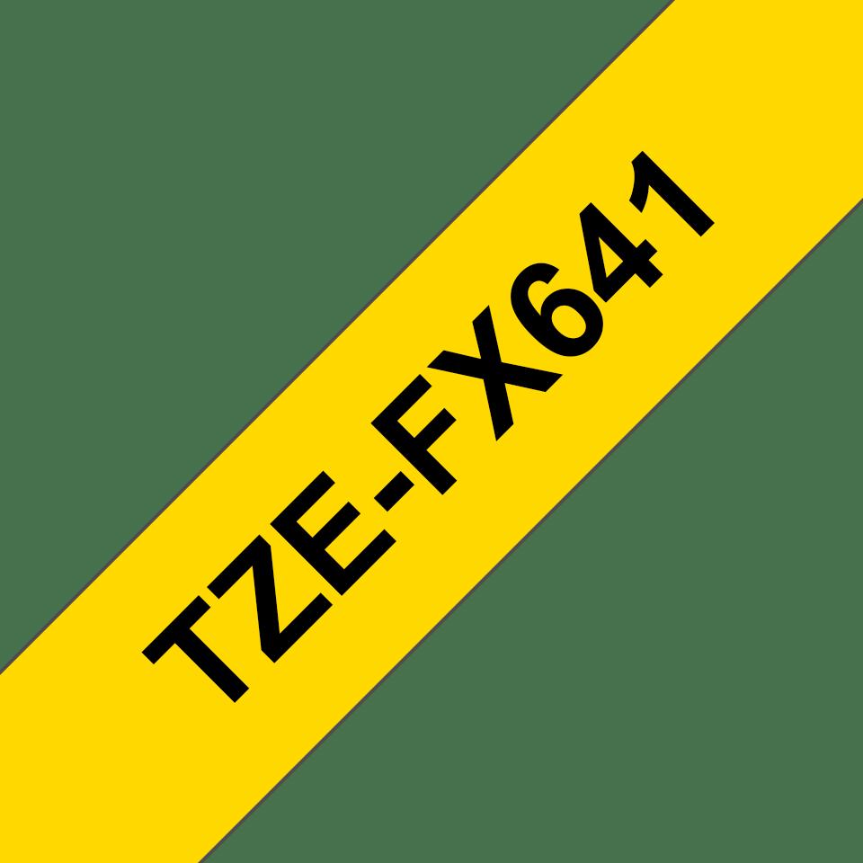 Original TZe-FX641 Flexi-Schriftbandkassette von Brother – Schwarz auf Gelb, 18mm breit 3