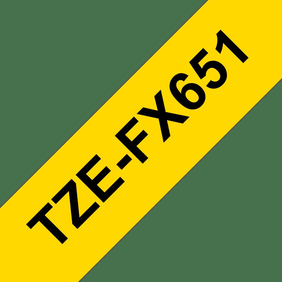 Original TZe-FX651 Flexi-Schriftbandkassette von Brother – Schwarz auf Gelb, 24mm breit