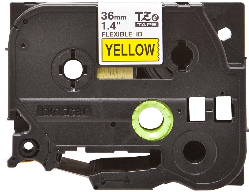 Original TZe-FX661 Flexi-Schriftbandkassette von Brother – Schwarz auf Gelb, 36mm breit