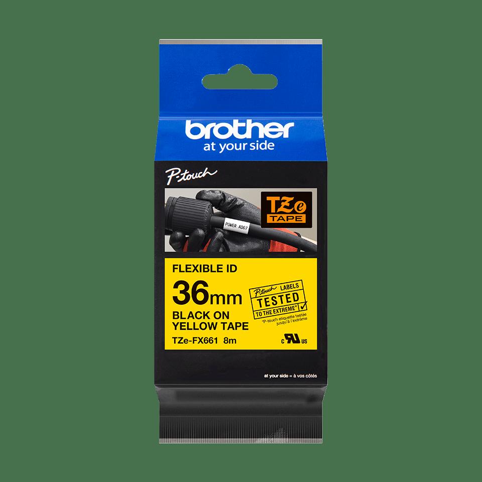Original TZe-FX661 Flexi-Schriftbandkassette von Brother – Schwarz auf Gelb, 36mm breit 2