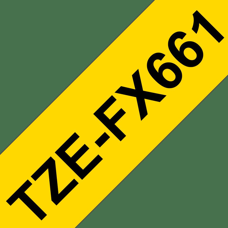 Cassette à ruban pour étiqueteuse TZe-FX661 Brother originale – Noir sur jaune, 36mm de large