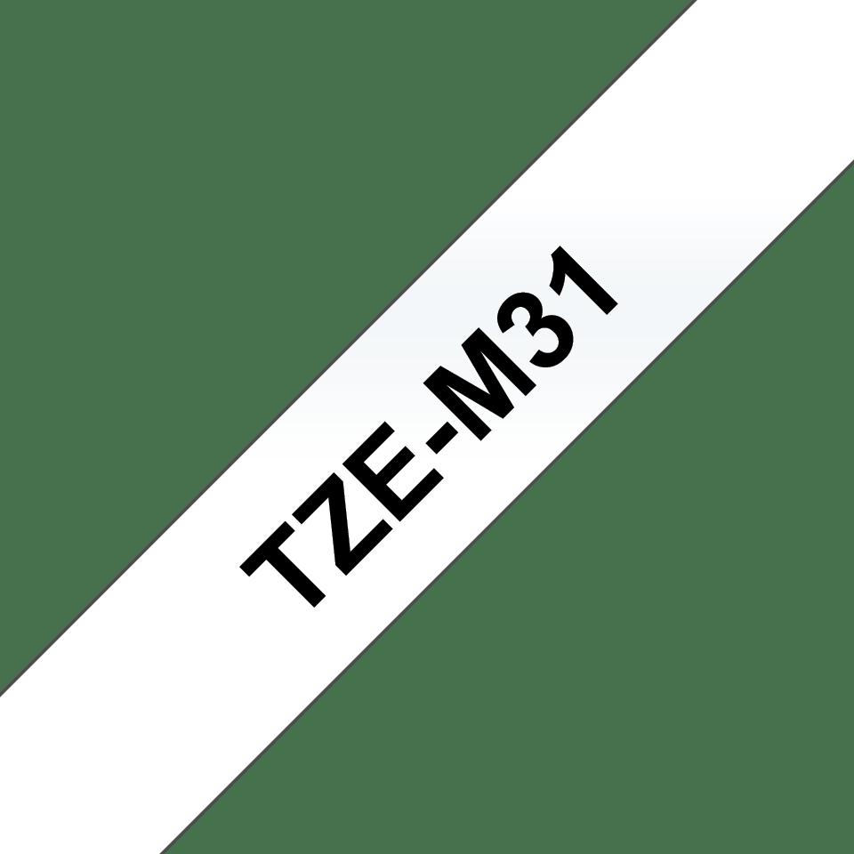 Original TZe-M31 Schriftbandkassette von Brother – Schwarz auf Transparent, matt, 12mm breit 3