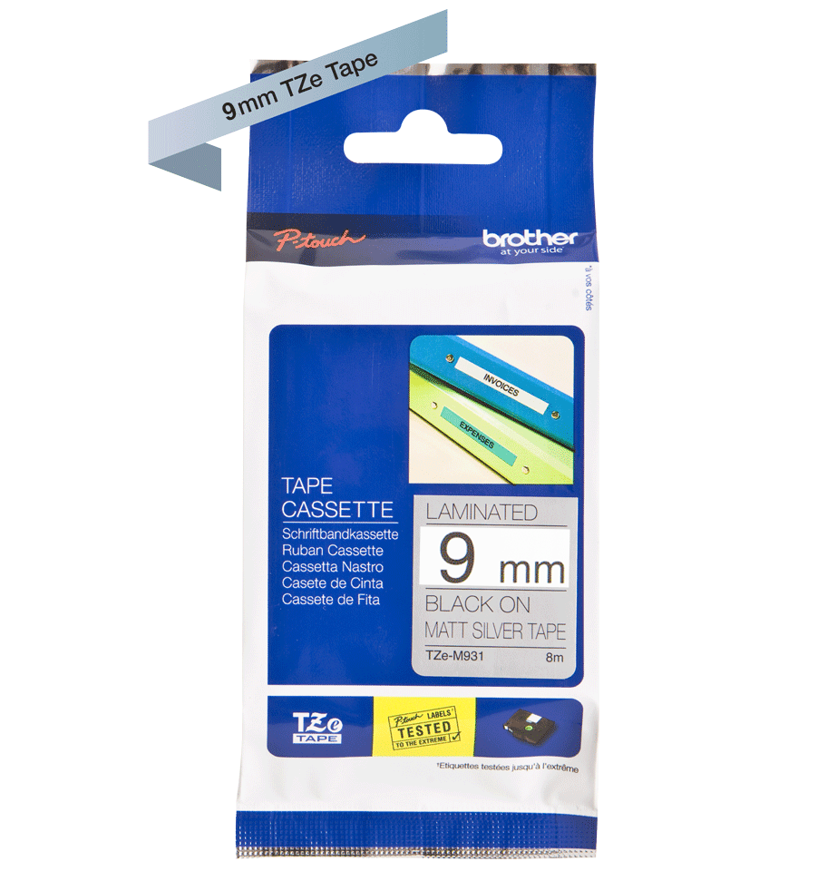Original TZe-M921 Schriftbandkassette von Brother – Schwarz auf Mattsilber, 9mm breit 2