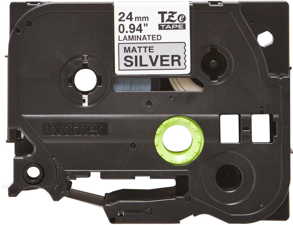 Original TZe-M951 Schriftbandkassette von Brother – Schwarz auf Mattsilber, 24mm breit