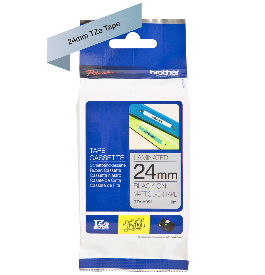 Cassette à ruban pour étiqueteuse TZe-M951 Brother originale – Noir sur argent mat, 24mm de large 2