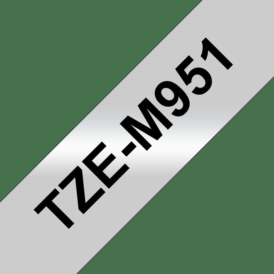 Original TZe-M951 Schriftbandkassette von Brother – Schwarz auf Mattsilber, 24mm breit 3