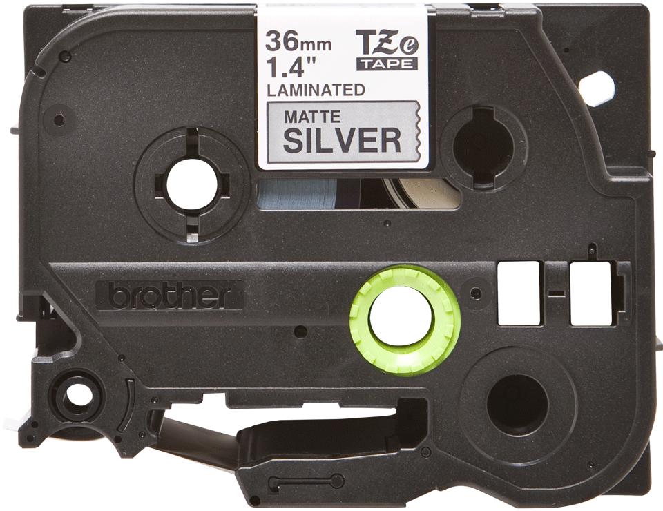 Original TZe-M961 Schriftbandkassette von Brother – Schwarz auf Mattsilber, 36mm breit