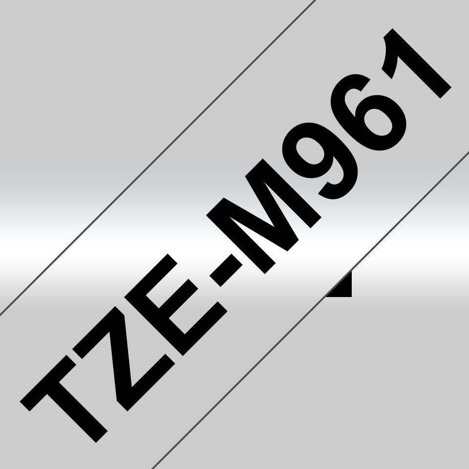 Original TZe-M961 Schriftbandkassette von Brother – Schwarz auf Mattsilber, 36mm breit 3