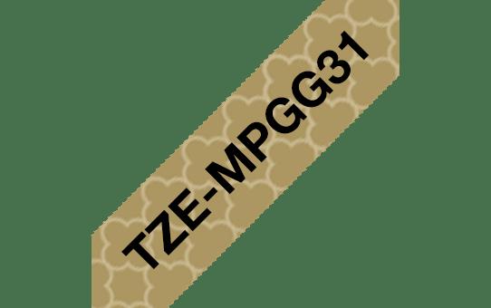 Original TZe-MPGG31 Schriftbandkassette von Brother – Schwarz auf Goldmuster, 12mm breit 3