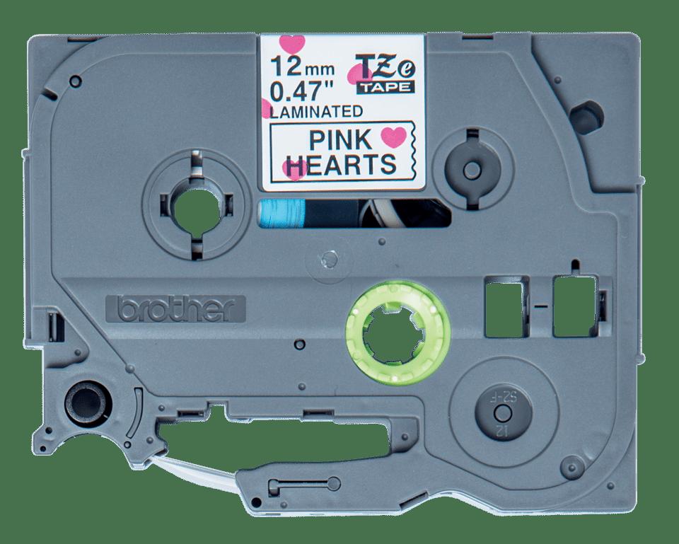 Cassette à ruban pour étiqueteuse TZe-MPPH31 Brother originale – Noir sur motif à cœurs roses, 12mm de large 2