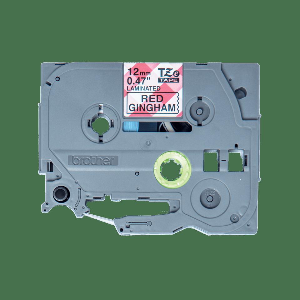Original TZe-MPRG31 Schriftbandkassette von Brother – Schwarz auf rot-weißem Karomuster, 12mm breit