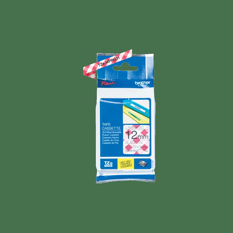 Original TZe-MPRG31 Schriftbandkassette von Brother – Schwarz auf rot-weißem Karomuster, 12mm breit 2