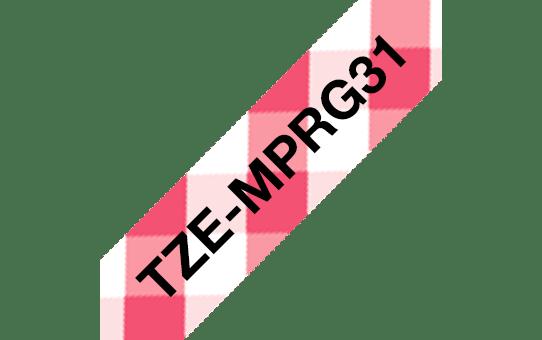 Ruban pour étiqueteuse TZe-MPRG31 Brother original – Noir sur motif Vichy rouge, 12mm de large