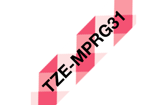Original TZe-MPRG31 Schriftbandkassette von Brother – Schwarz auf rot-weißem Karomuster, 12mm breit 3
