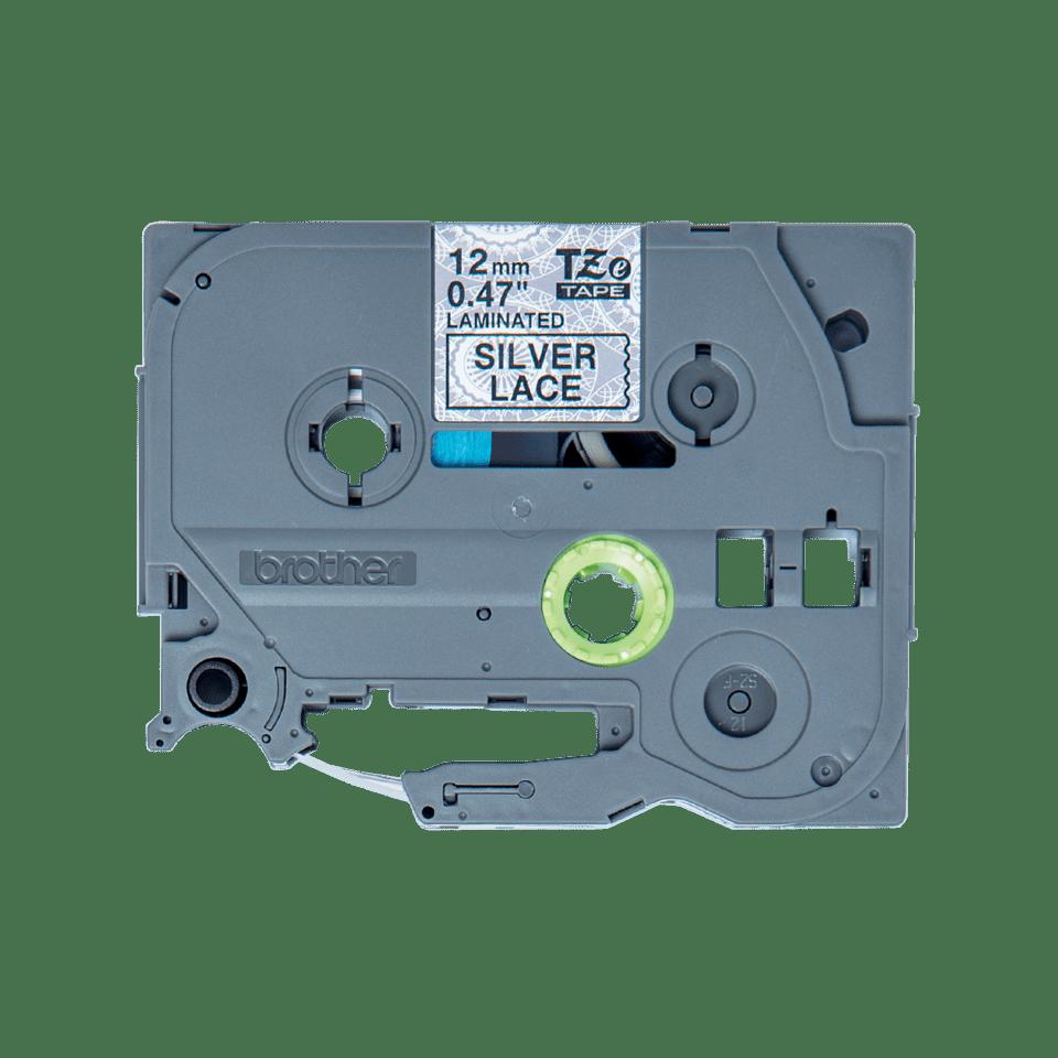 Original TZe-MPSL31 Schriftbandkassette von Brother – Schwarz auf silbernem Spitzenmuster, 12mm breit
