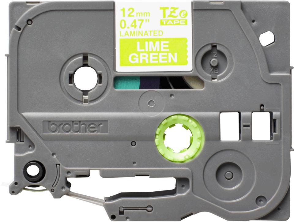Cassette à ruban pour étiqueteuse TZe-MQG35 Brother originale – Blanc sur vert citron, 12mm de large