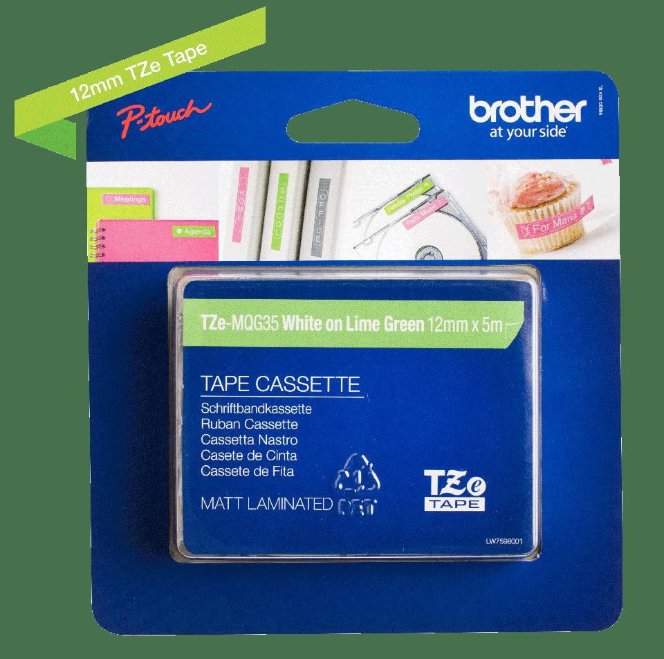 Cassette à ruban pour étiqueteuse TZe-MQG35 Brother originale – Blanc sur vert citron, 12mm de large 2