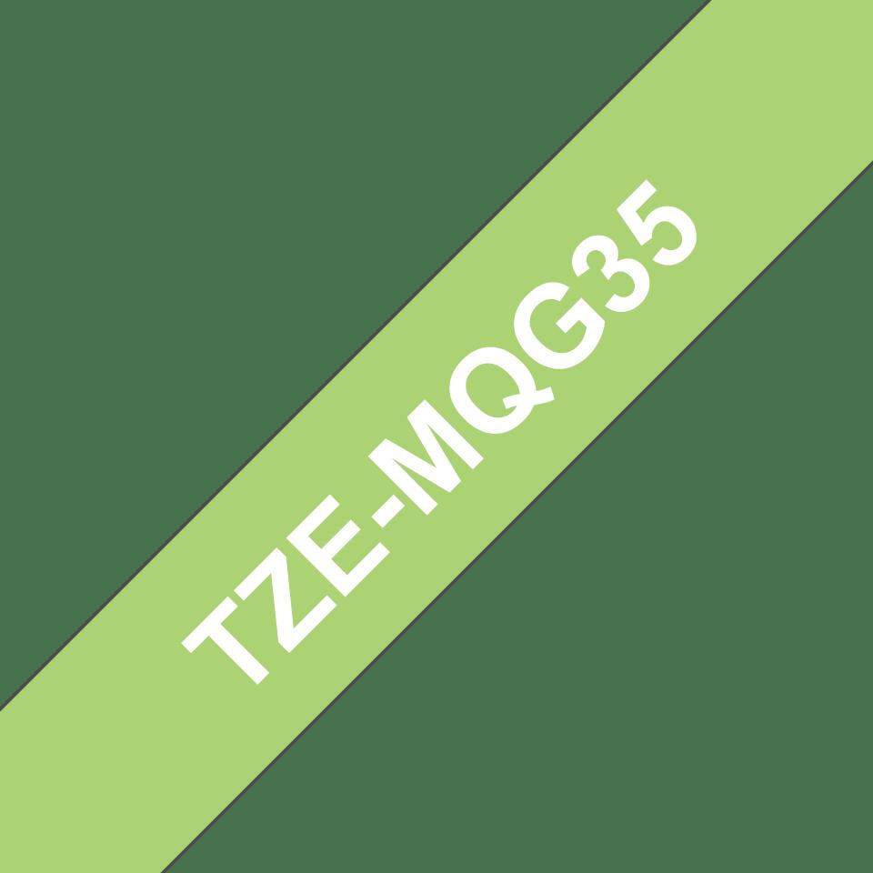 Original TZe-MQG35 Schriftbandkassette von Brother – Weiß auf Apfelgrün, 12 mm breit 3