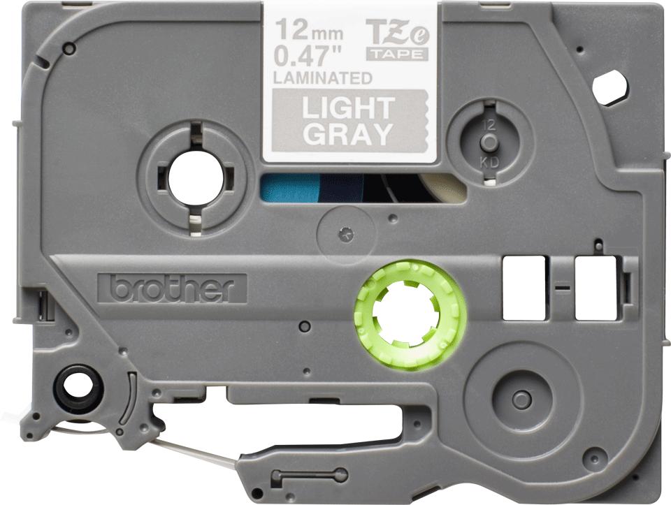 Ruban pour étiqueteuse TZe-MQL35 Brother original – Blanc sur gris clair, 12mm de large