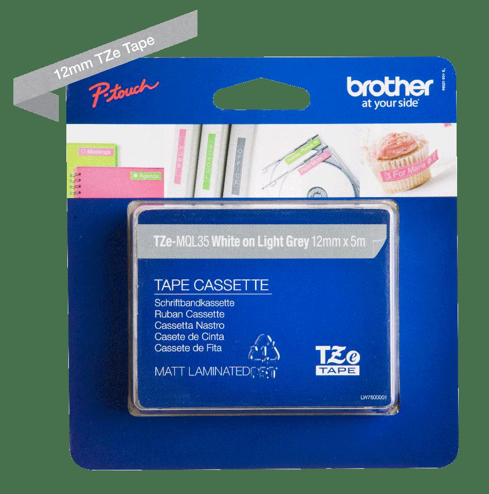 Original TZe-MQL35 Schriftbandkassette von Brother – Weiß auf Grau, 12mm breit 2